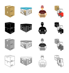 a box of goods a logistics warehouse a courier vector image