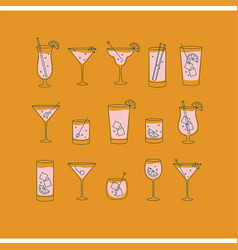 Alcohol drinks and cocktails icon flat set orange vector