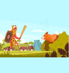 Ancient hunter background vector