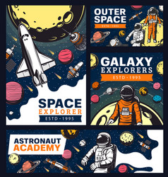 astronaut academy space and galaxy exploration vector image