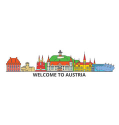 Austria outline skyline austrian flat thin line vector
