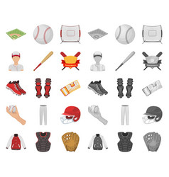baseball and attributes cartoonmono icons in set vector image