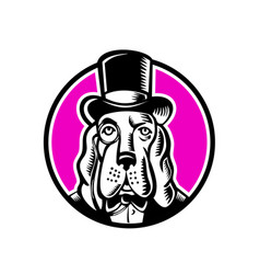 Basset hound monocle top hat vector