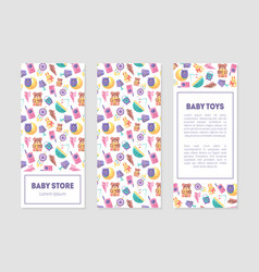 Bastore banner templates with cute toys and vector