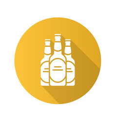 Beer bottles flat design long shadow glyph icon vector