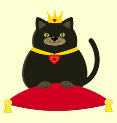 black cat in the crown on the pillow vector image