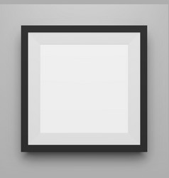 black square image frame template with shadow vector image