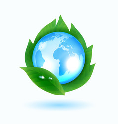 blue earth with green leaves vector image