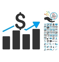 Business Chart Icon With 2017 Year Bonus vector image