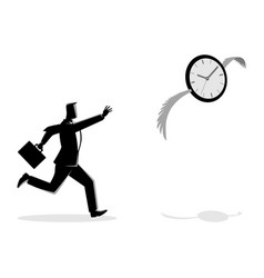businessman chasing a flying clock vector image