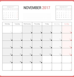 Calendar Planner for November 2017 vector image