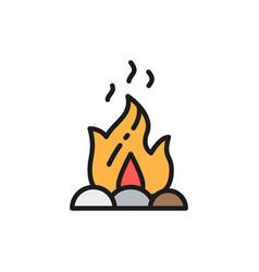 campfire fire bonfire flat color line icon vector image