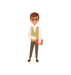 cartoon character of smart teen boy in glasses vector image