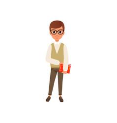 Cartoon character of smart teen boy in glasses vector