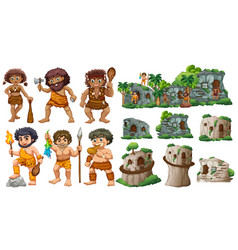 cave people and different styles of houses vector image