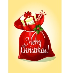 Christmas greeting card with santas gift bag vector image