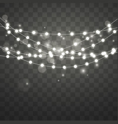 Christmas lights with highlight and bokeh effect vector