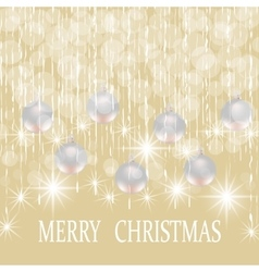 Christmas New year holiday card with silver balls vector image vector image