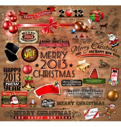 Christmas Vintage typograph design elements vector image