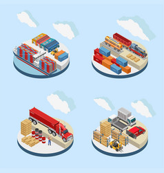Clouds over storage facilities with transport vector