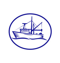 commercial fishing boat oval woodcut vector image