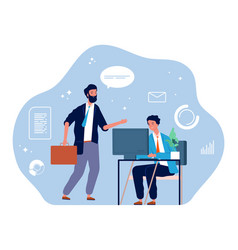 Computer worker young businessman office manager vector