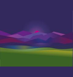 Concept simple night mountain sunset landscape vector