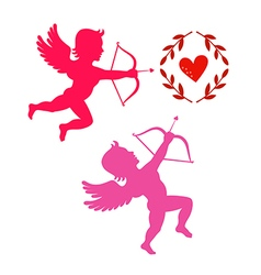 Cupids take aim isolated on white vector