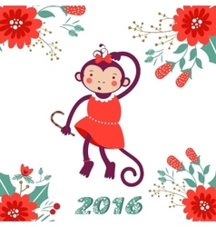 Cute card with cute funny monkey character vector
