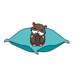 Cute hamster pet on cushion vector