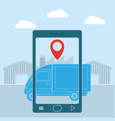 Delivery from smartphone vector