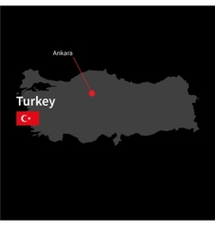detailed map turkey and capital city ankara vector image