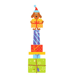 dog holding present on top of gift boxes bunch vector image