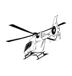 drawing helicopter in black color vector image