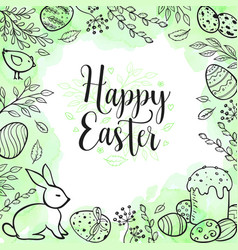 easter greeting card with eggs and rabbit vector image