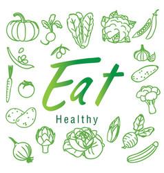 eat healthy green fruit vegetable white background vector image