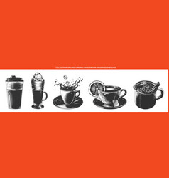 engraved style hot drinks collection for posters vector image