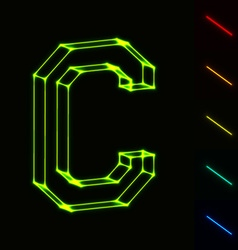 EPS10 glowing wireframe letter C - easy to change vector image