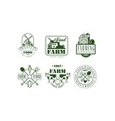farm food retro logo templates set organic food vector image
