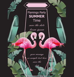 Flamingos party summer card tropic exotic vector