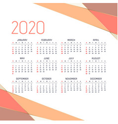 Geometric 2020 calendar design template vector
