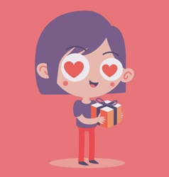 Girl in Love Holding a Present vector