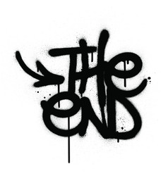 Graffiti end text sprayed in black over white vector