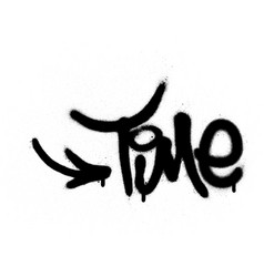 graffiti time word sprayed in black over white vector image