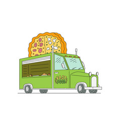 green food truck with giant pizza logo sign vector image