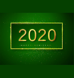 green happy new year glitter gold fireworks vector image