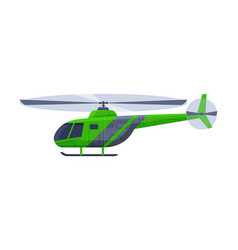 Green helicopter aircraft flying chopper air vector