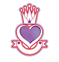 Heart with crown emblem vector