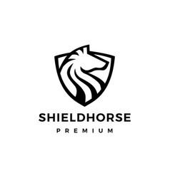 Horse shield logo icon vector
