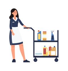 hotel room service worker - cartoon cleaner woman vector image